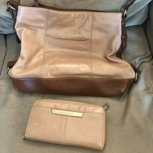 TIGNANELLO LEATHER HOBO W/MATCHING WALLET